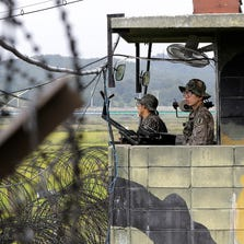 South Korean army soldiers stand guard at a military check point at the Imjingak Pavilion near the border village of Panmunjom, Wednesday.