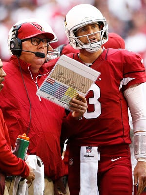 Coach Bruce Arians and QB Carson Palmer hope to bring the Cardinals their first Super Bowl win this sesaon.