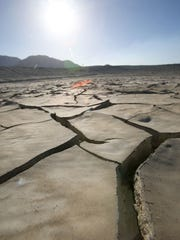 Ponds that are normally used to recharge the aquifer sit dry on the outskirts of Palm Springs. During the drought, the amounts of imported water flowing to the ponds have dwindled.