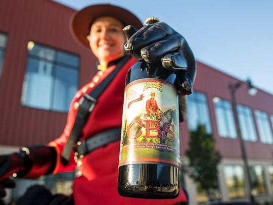Canadian Breakfast Stout by Founders Brewing Co. in 2017, when the Mountie was still on its label. The label was changed in 2018 to remove the Mountie.