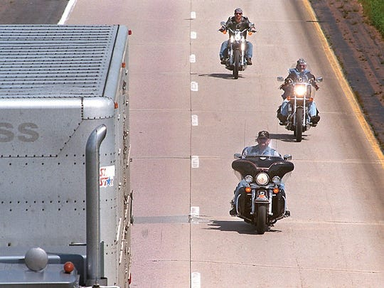 -  -Motorcyclists head west Friday afternoon on Interstate