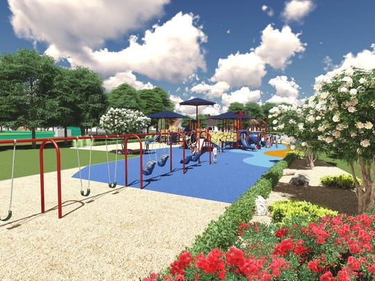 A rendering of the upcoming KIDSPOT playground in Rutherford.