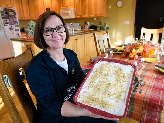 Deb Klaphake, Grey Eagle, makes her pumpkin dazzler