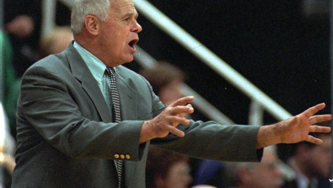 Former Michigan State basketball coach Jud Heathcote pleads with his team late in the first half to play more patient offense against Indiana in East Lansing.