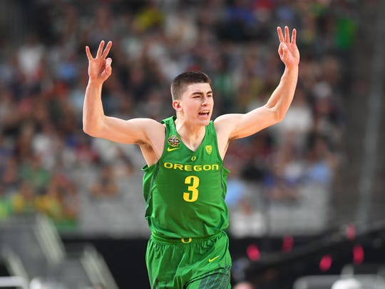 Apr 1, 2017; Glendale, AZ, USA; Oregon Ducks guard Payton Pritchard (3) reacts after a three point basket against the North Carolina Tar Heels in the first half in the semifinals of the 2017 NCAA Men's Final Four at University of Phoenix Stadium. Mandatory Credit: Bob Donnan-USA TODAY Sports