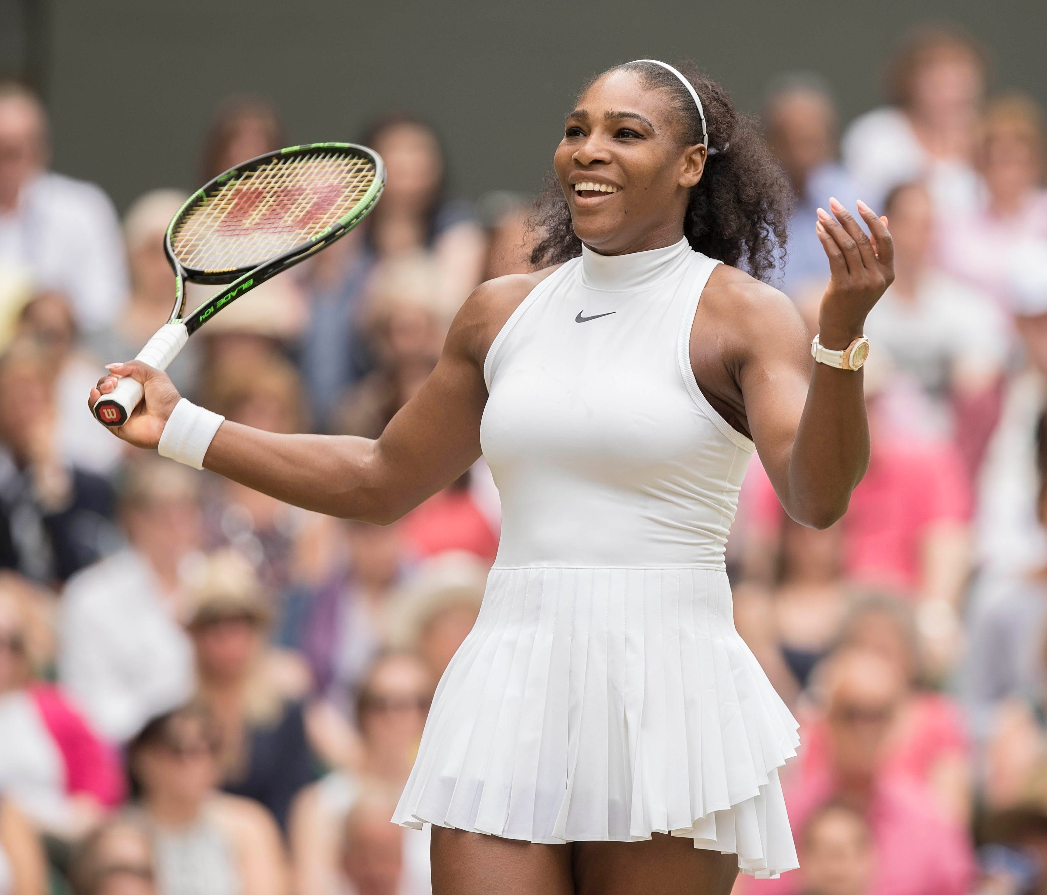 In a file photo from July 9, 2016, Serena Williams (USA) reacts during her match against Angelique Kerber (GER) during Wimbledon.