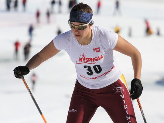 Anna Schriefer of Pittsford Mendon skis at the 2018