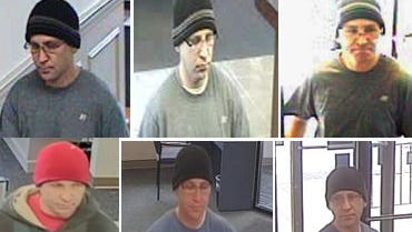 """The FBI is seeking information on the """"Sock Hat Bandit."""" The suspect has robbed seven banks since April."""