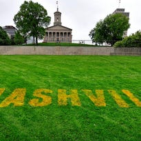 A Smashville sign is painted on the hill at the Tennessee State Capitol in Nashville.