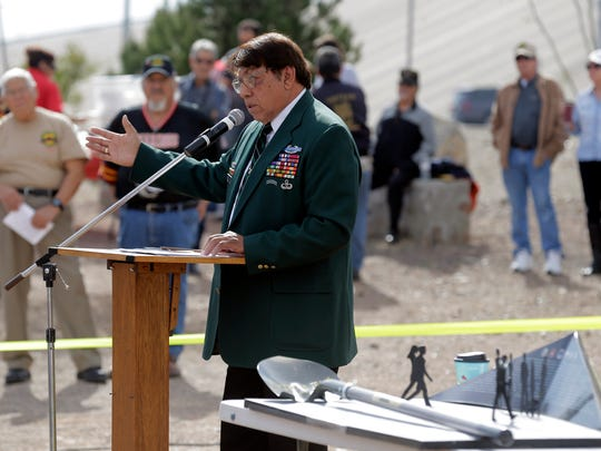 """U.S. Army Vietnam Veteran Joe """"China Boy"""" Lopez speaks at the groundbreaking ceremony for the El Paso County Vietnam Veterans Memorial on Saturday at Flags Across America in Northeast El Paso. Lopez designed the memorial. It is scheduled for completion in March, when it will be officially dedicated. See more photos on 3B and at elpasotimes.com."""