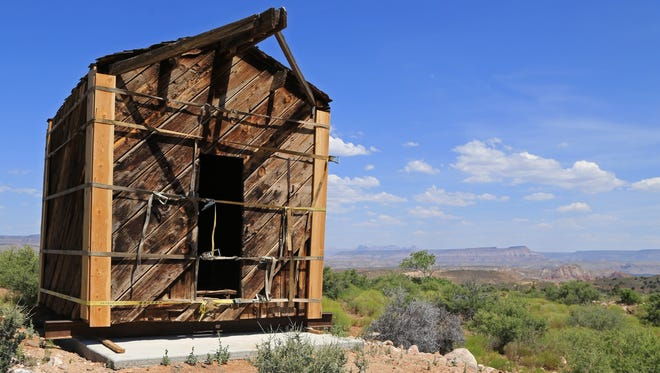 The old Silver Reef jail was returned Tuesday to the historic mining town.