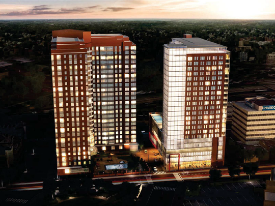 A conceptual rendering of 255 Huguenot Street in New Rochelle shows a new through street and high-rise next to the La Rochelle apartment building.
