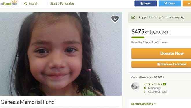 A GoFundMe page has been established to help cover funeral expenses for 4-year-old Genesis Conde, who was killed in a crash Sunday.