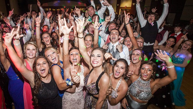 Delta celebrates prom at Ball State's student center Saturday night.