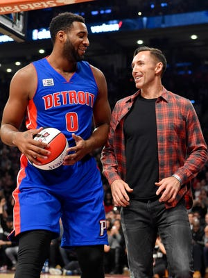 Feb 13, 2016; Toronto, Ontario, Canada; Detroit Pistons center Andre Drummond (left) reacts with Steve Nash after competing in the dunk contest the NBA All Star Saturday Night at Air Canada Centre.