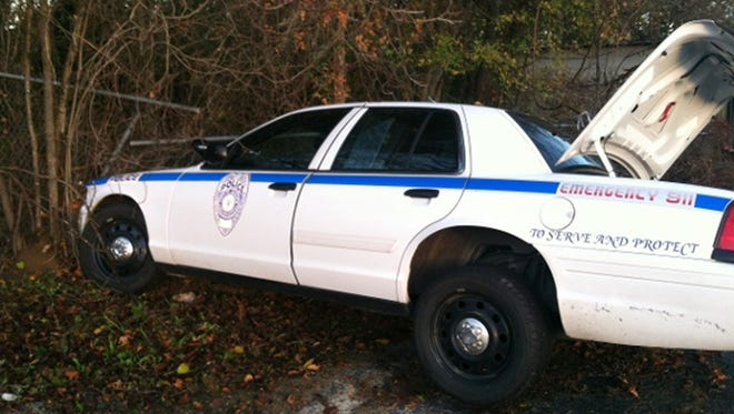 This Jackson police was involved in an accident after hitting a pothole.