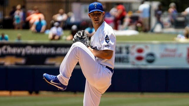 Former Vanderbilt pitcher Walker Buehler, a 2015 first-round pick, while pitching for the Double-A Tulsa Drillers.