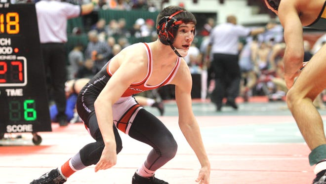 La Salle's Lucas Byrd wins his Division I quarterfinal at 106 pounds at the OHSAA state tournament March 10, 2017 at Ohio State's Schottenstein Center.