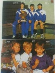 (From left) Cory Bankemper, Bo Hines and Ben Hines show off their state trophy in 2004 (top), just as they showed off one 12 years earlier in 1992 (bottom).
