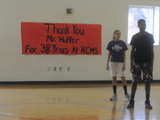 A sign thanking Dave Huffer for his time at Kate Collins Middle School. Huffer will retire as  P.E. teacher after 38 years.