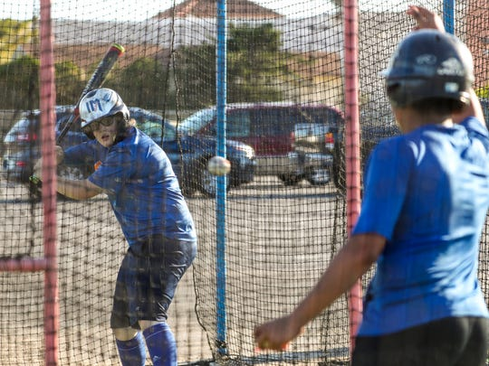Batting practice Friday evening. Cape Coral High freshman