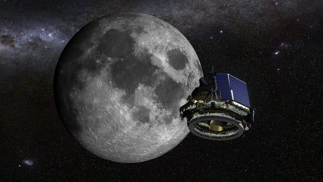 Artist rendering of a Moon Express lander orbiting the moon.