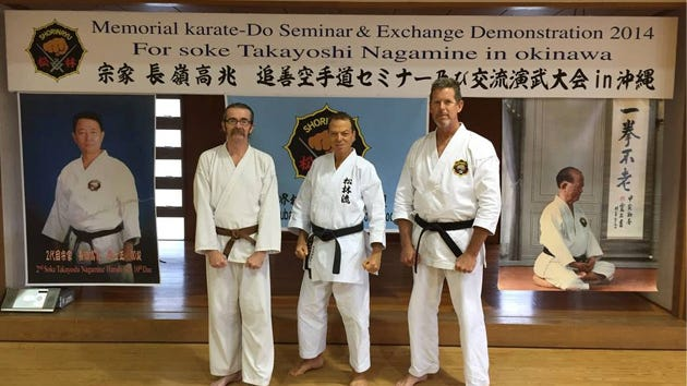 From left, Jason Christian, Des Chaskelson and Stu Warren recently represented the Space Coast at the World Matsubayashi-Ryu Karate-Do Association (WMKA) seminar in Okinawa, Japan.