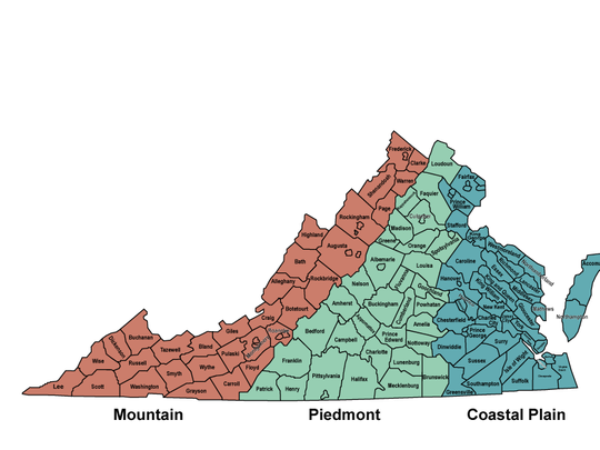 How the state is divided for the Virginia Native Plant Finder.