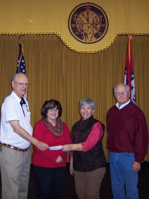 The Mountain Home Elks Lodge No. 1714 recently donated $1,000 to the local Backpack Food 4 Kids program. Shown, from left, Don Swanson, Elks president; Jo Strichland, and Linda Demas, co-directors of the Backpack program; and Butch Holligan, Elks grant coordinator.