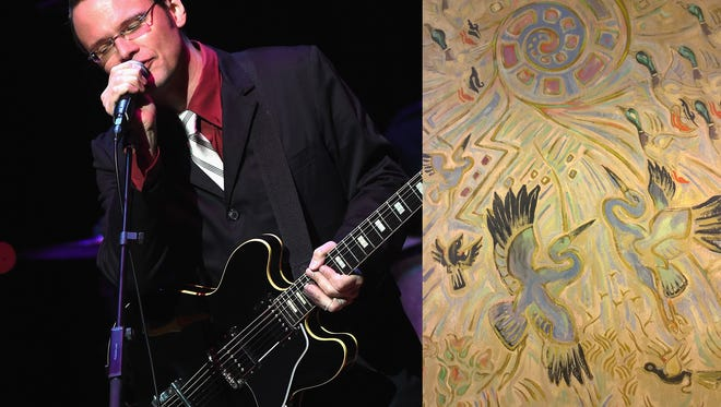 Guitarist Luther Dickinson (left) will perform music inspired by the work of artist Walter Anderson's community center murals (right) in Ocean Springs on Sunday.