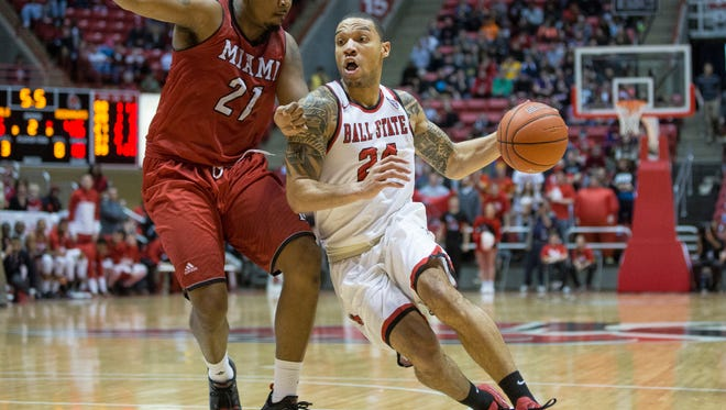Ball State's Jeremiah Davis goes in for a last second shot to win the game Saturday afternoon during their game against Miami. Ball State beat Miami 48-46.