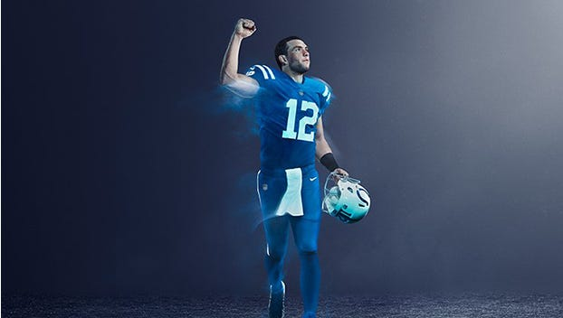 The Indianapolis Colts will wear all-blue uniforms Dec. 14 as part of the NFL's color rush initiative.