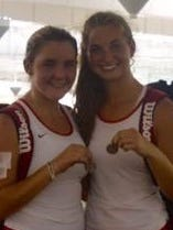 St. Clair's Ally Winkler (left) and Ally Kennedy placed second Saturday in the No. 1 doubles flight at the Division 3 tennis finals.
