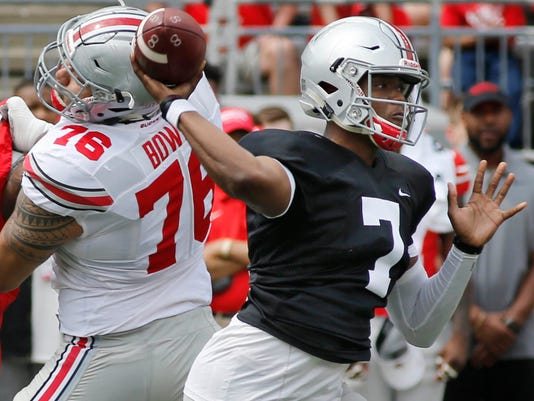 Ohio State quarterback Dwayne Haskins throws a pass during their NCAA college spring football game Saturday, April 15, 2017, in Columbus, Ohio. (AP Photo/Jay LaPrete)