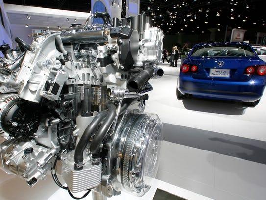 A Volkswagen Jetta TDI diesel engine is displayed at