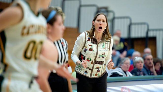 University of Vermont women's basketball coach Lori McBride at a game during last season.
