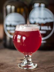 Beet red ale with beets from nearby Pebble Brook Farm