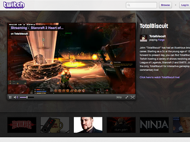 The home page for Twitch.