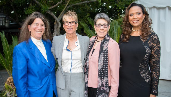 L-R Arlene Rosenthal, Opera Arts Board President and event chair, honorees Kelly Watson and Ronni Sanlo, and co-chair Barbara Carpenter