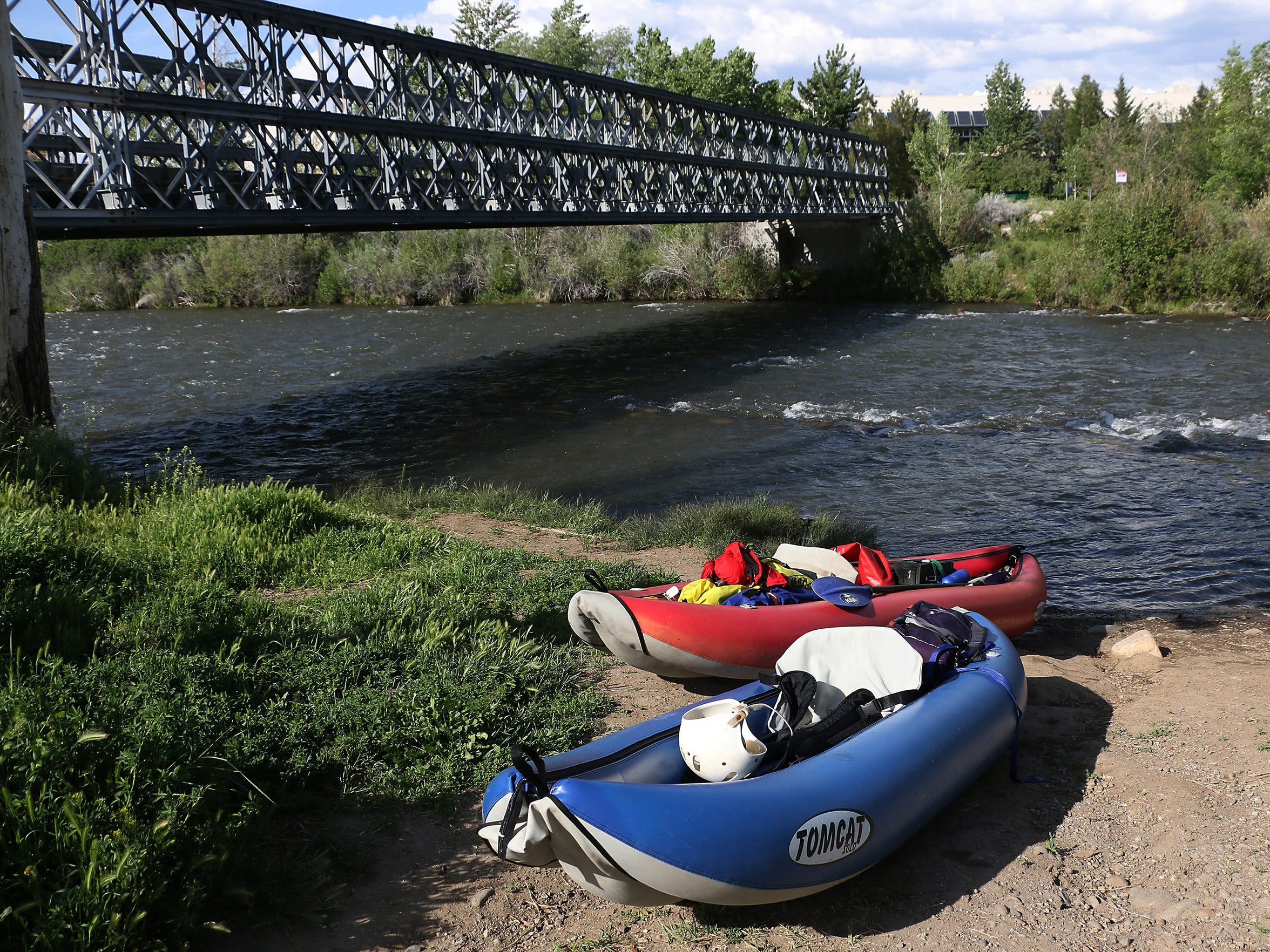 Takeout site near White Fir Street in Reno. RGJ reporters Ben Spillman and Jason Bean paddle the Truckee River from Truckee to Pyramid Lake during May of 2016.