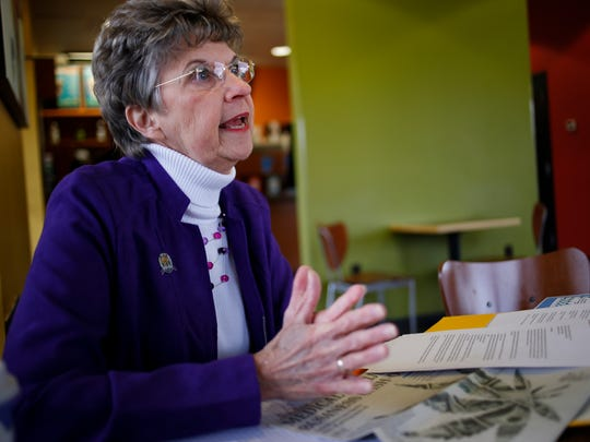 """""""My passion is to bring this area back because we love the area, and this is where we put our heads on our pillows,"""" Elaine Womboldt, facilitator of of the organization Rejuvinating South Lansing said Thursday, Nov. 16, 2017, at a coffee shop where she often meets fellow members for meetings."""
