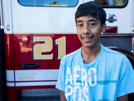 Eric Mendez, 14, poses for a portrait on Dec. 6, 2017