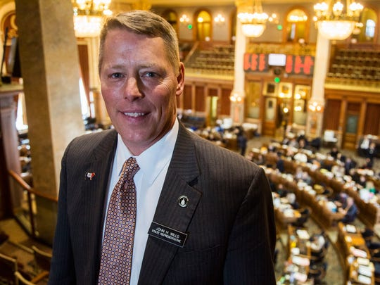 Rep. John Wills, R-Spirit Lake, stands in the gallery above the House Chambers on Tuesday, Jan. 23, 2018, in the Iowa Capitol. Wills was the floor manager of the water quality bill that is headed the Governor's desk today.