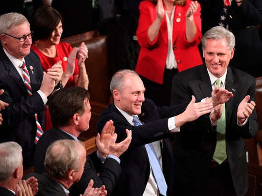 Rep. Steve Scalise, R-La., acknowledges the crowd after