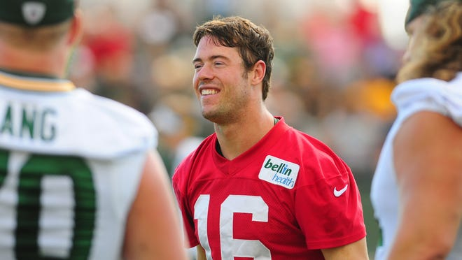 Green Bay Packers quarterback Scott Tolzien during training camp practice at Ray Nitschke Field, Wednesday, August 27, 2014.