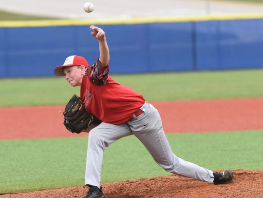 Tri-County's Gunner Gleghorn delivers a pitch against