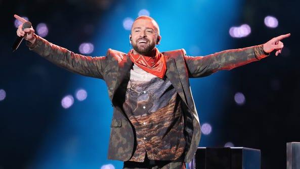 Justin Timberlake performs onstage during the Pepsi