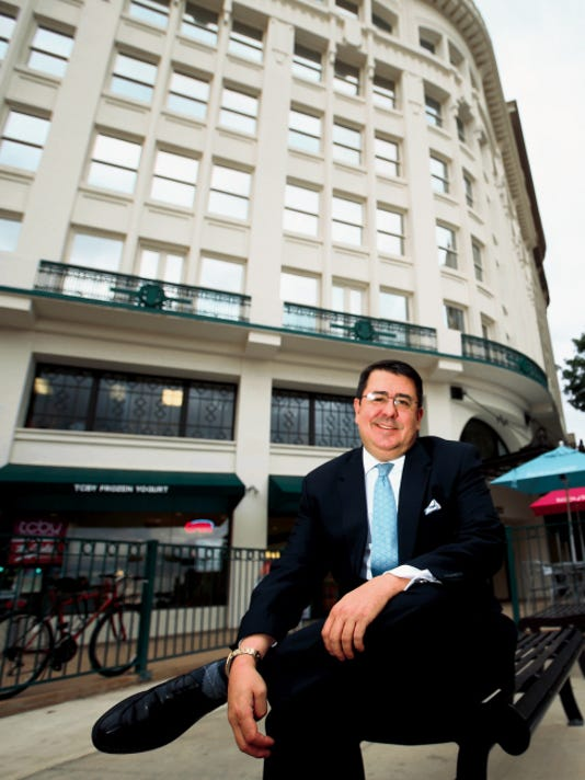 Ben Gonzalez, a consultant and vice president of economic development for the Borderplex Alliance, sits recently outside the economic development organization's offices, which are located in the Centre Building at 123 W. Mills in Downtown El Paso.