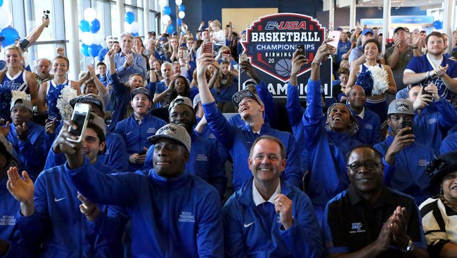 The MTSU Mens team reacts to the announcement of their bracket for the NCAA Tournament,on Sunday March 13, 2016, at MTSU. MTSU will play Michigan State at St. Louis on Friday.