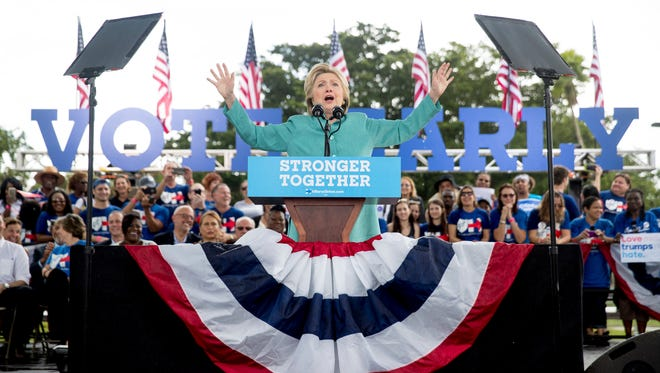 Hillary Clinton speaks at a rally at C.B. Smith Park in Pembroke Pines, Fla., on Nov. 5, 2016.